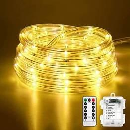 10M 100 LEDS Lichterschlauch, Eruibos LED Schlauch Außen mit Fernbedienung & Timer, IP65 Wasserdicht,8 Modi und Helligkeit dimmbar Lichterkette für Aussen, Weihnachtsbeleuchtung, Deko, Party - 1