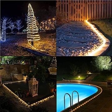 10M 100 LEDS Lichterschlauch, Eruibos LED Schlauch Außen mit Fernbedienung & Timer, IP65 Wasserdicht,8 Modi und Helligkeit dimmbar Lichterkette für Aussen, Weihnachtsbeleuchtung, Deko, Party - 4