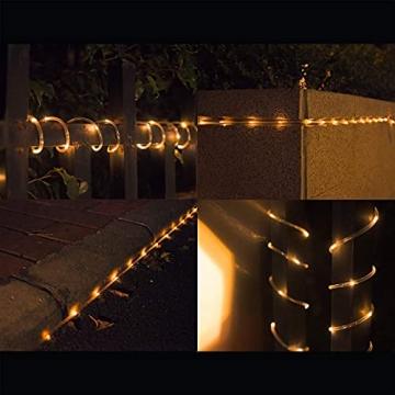 10M 100 LEDS Lichterschlauch, Eruibos LED Schlauch Außen mit Fernbedienung & Timer, IP65 Wasserdicht,8 Modi und Helligkeit dimmbar Lichterkette für Aussen, Weihnachtsbeleuchtung, Deko, Party - 7