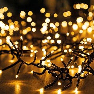 11m LED Lichterkette außen Weihnachten Extra Warmweiß Cluster Lichterkette Weihnachtsbaum Büschellichterkette innen Strombetrieben Tannenbaum Christbaum Weihnachtslichterkette außen - 1