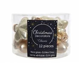 12 Sterne Weihnachtskugeln Christbaumkugeln Christbaumschmuck Champagner Creme aus Glas 40 mm glanz und matt - 1