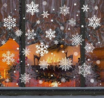 140 Schneeflocken Fensterfolie, Fensterdeko Fensterbild Statisch Haftende PVC Aufkleber Weihnachten Dekoration - Selbstklebend Fenstersticker für Weihnachts-Fenster Dekoration, Schaufenster, Vitrinen - 1