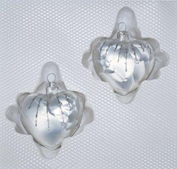 """2 tlg. Glas-Herzen Set in """"Ice Weiss Silber"""" Regen - Christbaumkugeln - Weihnachtsschmuck-Christbaumschmuck - 1"""