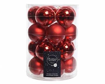 20 Christbaumkugeln Glas 6cm rot Glanz matt - 1