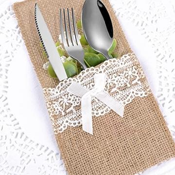 20 Stück Bestecktaschen Jute mit Spitze Besteckbeutel Sackleinen Besteckhalter Vintage Hochzeitsdeko Tischdeko für Hochzeit Geburtstag Party Weihnachten (Weiß) - 3