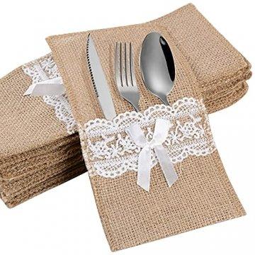 20 Stück Bestecktaschen Jute mit Spitze Besteckbeutel Sackleinen Besteckhalter Vintage Hochzeitsdeko Tischdeko für Hochzeit Geburtstag Party Weihnachten (Weiß) - 1