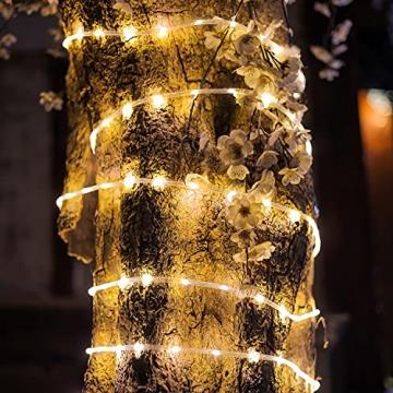 200 LED Schlauch Außen – Lichterschlauch Aussen 10m warmweiß mit Timer | Lichterkette Weihnachtsbeleuchtung wasserdicht | LED Lichtschlauch Außen 10m & Innen | Lichtschläuche Outdoor Leuchtschlauch - 2