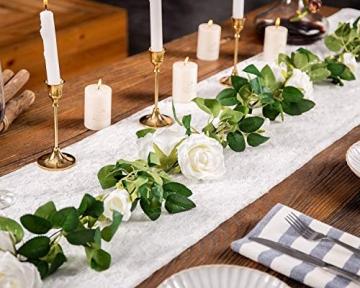 3 Stück Künstliche Rosen Girlanden,Kunstblumen Seidenblumen Blumen Rose für Hochzeit, Party, Garten Dekoration (Weiß) - 2