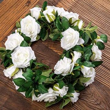 3 Stück Künstliche Rosen Girlanden,Kunstblumen Seidenblumen Blumen Rose für Hochzeit, Party, Garten Dekoration (Weiß) - 3