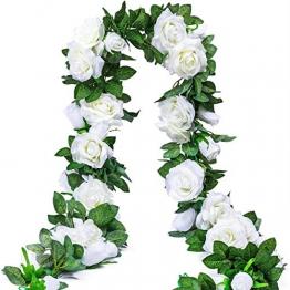 3 Stück Künstliche Rosen Girlanden,Kunstblumen Seidenblumen Blumen Rose für Hochzeit, Party, Garten Dekoration (Weiß) - 1