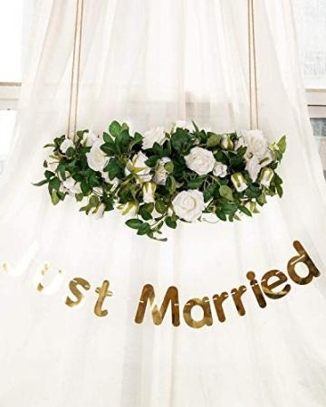 3 Stück Künstliche Rosen Girlanden,Kunstblumen Seidenblumen Blumen Rose für Hochzeit, Party, Garten Dekoration (Weiß) - 4