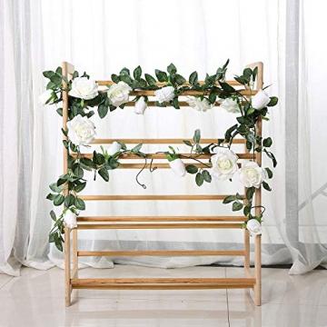 3 Stück Künstliche Rosen Girlanden,Kunstblumen Seidenblumen Blumen Rose für Hochzeit, Party, Garten Dekoration (Weiß) - 5