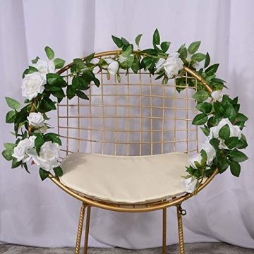 3 Stück Künstliche Rosen Girlanden,Kunstblumen Seidenblumen Blumen Rose für Hochzeit, Party, Garten Dekoration (Weiß) - 6