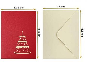 3D Geburtstagskarte, Pop Up Geburtstagskarten Grußkarte Geburtstag Karten mit 3 Schichten Kuchen, Gefaltete Happy Birthday Karte Glückwunschkarte Grußkarten mit Umschlag für Geburtstag Weihnachten - 2