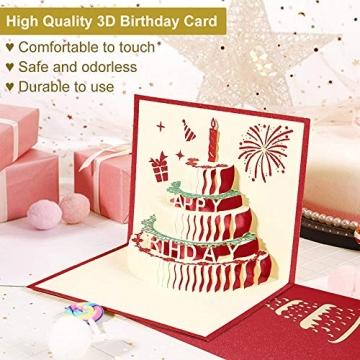3D Geburtstagskarte, Pop Up Geburtstagskarten Grußkarte Geburtstag Karten mit 3 Schichten Kuchen, Gefaltete Happy Birthday Karte Glückwunschkarte Grußkarten mit Umschlag für Geburtstag Weihnachten - 3