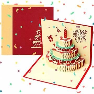 3D Geburtstagskarte, Pop Up Geburtstagskarten Grußkarte Geburtstag Karten mit 3 Schichten Kuchen, Gefaltete Happy Birthday Karte Glückwunschkarte Grußkarten mit Umschlag für Geburtstag Weihnachten - 1