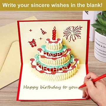3D Geburtstagskarte, Pop Up Geburtstagskarten Grußkarte Geburtstag Karten mit 3 Schichten Kuchen, Gefaltete Happy Birthday Karte Glückwunschkarte Grußkarten mit Umschlag für Geburtstag Weihnachten - 5