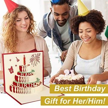 3D Geburtstagskarte, Pop Up Geburtstagskarten Grußkarte Geburtstag Karten mit 3 Schichten Kuchen, Gefaltete Happy Birthday Karte Glückwunschkarte Grußkarten mit Umschlag für Geburtstag Weihnachten - 6