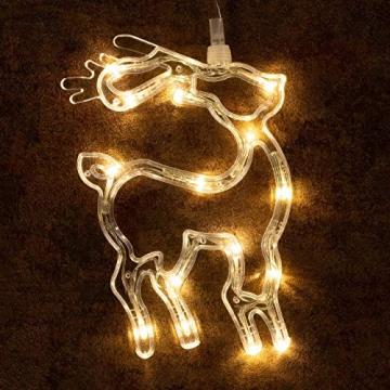 3er Set Fensterbilder 45 LED warm weiß mit Saugnapf Schneemann Rentier Stern Batterie Innen Fensterdeko Weihnachten Weihnachtsdeko Xmas 3 Motive - 2