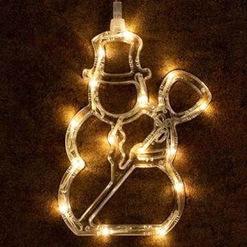 3er Set Fensterbilder 45 LED warm weiß mit Saugnapf Schneemann Rentier Stern Batterie Innen Fensterdeko Weihnachten Weihnachtsdeko Xmas 3 Motive - 4