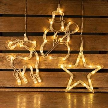 3er Set Fensterbilder 45 LED warm weiß mit Saugnapf Schneemann Rentier Stern Batterie Innen Fensterdeko Weihnachten Weihnachtsdeko Xmas 3 Motive - 5