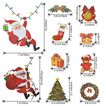 4 Sets Fenstersticker Weihnachten Fensterbilder Weihnachtsmann Schneeflocken Abnehmbare Fensterdeko Statisch Haftende PVC Aufkleber Fensterfolie für Weihnachtsdekoration Fenster Weihnachtsdeko - 3