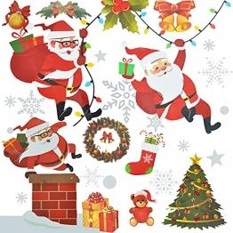4 Sets Fenstersticker Weihnachten Fensterbilder Weihnachtsmann Schneeflocken Abnehmbare Fensterdeko Statisch Haftende PVC Aufkleber Fensterfolie für Weihnachtsdekoration Fenster Weihnachtsdeko - 1