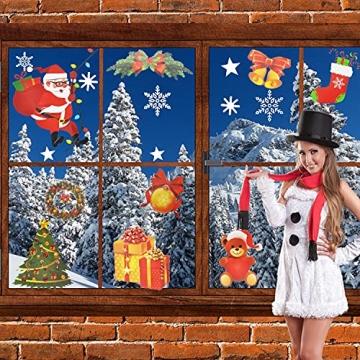 4 Sets Fenstersticker Weihnachten Fensterbilder Weihnachtsmann Schneeflocken Abnehmbare Fensterdeko Statisch Haftende PVC Aufkleber Fensterfolie für Weihnachtsdekoration Fenster Weihnachtsdeko - 4