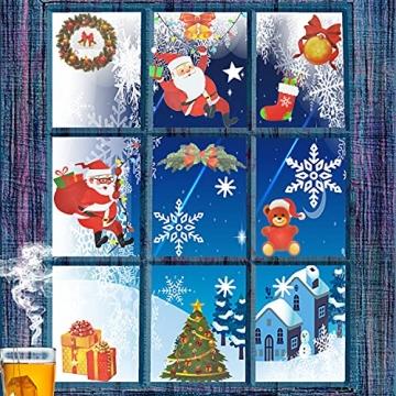 4 Sets Fenstersticker Weihnachten Fensterbilder Weihnachtsmann Schneeflocken Abnehmbare Fensterdeko Statisch Haftende PVC Aufkleber Fensterfolie für Weihnachtsdekoration Fenster Weihnachtsdeko - 5