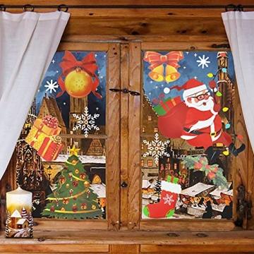 4 Sets Fenstersticker Weihnachten Fensterbilder Weihnachtsmann Schneeflocken Abnehmbare Fensterdeko Statisch Haftende PVC Aufkleber Fensterfolie für Weihnachtsdekoration Fenster Weihnachtsdeko - 6