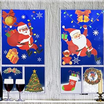 4 Sets Fenstersticker Weihnachten Fensterbilder Weihnachtsmann Schneeflocken Abnehmbare Fensterdeko Statisch Haftende PVC Aufkleber Fensterfolie für Weihnachtsdekoration Fenster Weihnachtsdeko - 7