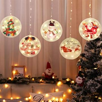 5 Stück Weihnachtsstern Beleuchtung, Weihnachtslichter Stern Fenster Stern Licht LED Lichterkette Außen Wasserdicht, für Zuhause, Neujahr, Hochzeit, Urlaub, Party, Warmes Weiß - 6