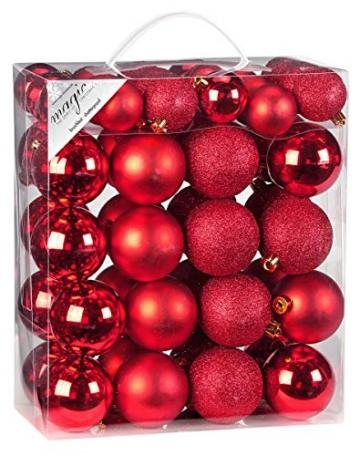 50 Christbaumkugeln 4cm und 6cm PVC Box ( rot ) // Weihnachtskugeln Baumkugeln Baumschmuck Weihnachtsdeko Kugeln - 2