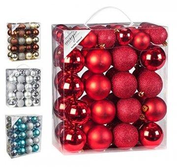 50 Christbaumkugeln 4cm und 6cm PVC Box ( rot ) // Weihnachtskugeln Baumkugeln Baumschmuck Weihnachtsdeko Kugeln - 1