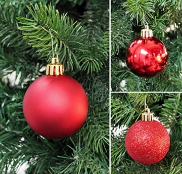 50 Christbaumkugeln 4cm und 6cm PVC Box ( rot ) // Weihnachtskugeln Baumkugeln Baumschmuck Weihnachtsdeko Kugeln - 5