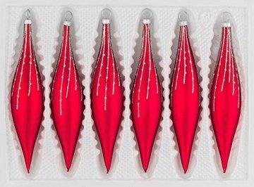 6 TLG. Glas-Zapfen Set in Classic Rot Silber Regen - Christbaumkugeln - Weihnachtsschmuck-Christbaumschmuck - 1