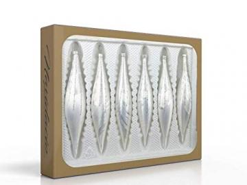 6 TLG. Glas-Zapfen Set in Ice Weiss Silber Regen - Christbaumkugeln - Weihnachtsschmuck-Christbaumschmuck - 2