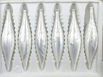 6 TLG. Glas-Zapfen Set in Ice Weiss Silber Regen - Christbaumkugeln - Weihnachtsschmuck-Christbaumschmuck - 1