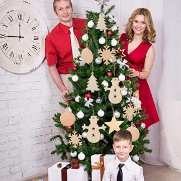 60 Stück weihnachtsdeko holz weihnachtsbaumschmuck basteln holzdeko weihnachten weihnachtsbaum deko, tannenbaum weihnachtsanhänger, christbaumschmuck holz ornamente Schneeflocke Weihnachtsdekoration - 2
