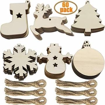 60 Stück weihnachtsdeko holz weihnachtsbaumschmuck basteln holzdeko weihnachten weihnachtsbaum deko, tannenbaum weihnachtsanhänger, christbaumschmuck holz ornamente Schneeflocke Weihnachtsdekoration - 1