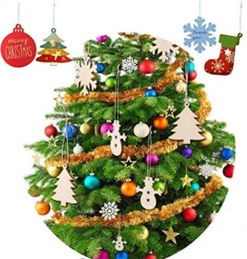 60 Stück weihnachtsdeko holz weihnachtsbaumschmuck basteln holzdeko weihnachten weihnachtsbaum deko, tannenbaum weihnachtsanhänger, christbaumschmuck holz ornamente Schneeflocke Weihnachtsdekoration - 5