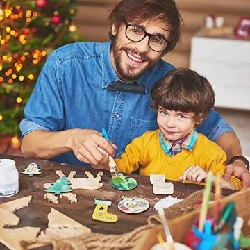 60 Stück weihnachtsdeko holz weihnachtsbaumschmuck basteln holzdeko weihnachten weihnachtsbaum deko, tannenbaum weihnachtsanhänger, christbaumschmuck holz ornamente Schneeflocke Weihnachtsdekoration - 6