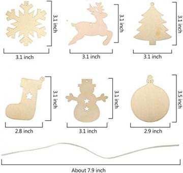 60 Stück weihnachtsdeko holz weihnachtsbaumschmuck basteln holzdeko weihnachten weihnachtsbaum deko, tannenbaum weihnachtsanhänger, christbaumschmuck holz ornamente Schneeflocke Weihnachtsdekoration - 7