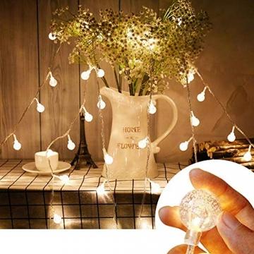 ACBungji 6M/10M LED Lichterkette Batteriebetriebene mit 80 LED Beleuchtung Weihnachtsbeleuchtung Warmweiß für Zimmer Außen/Innen Garten Dekoration Party Hochzeit Schaufenster (6M) - 2