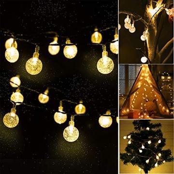 ACBungji 6M/10M LED Lichterkette Batteriebetriebene mit 80 LED Beleuchtung Weihnachtsbeleuchtung Warmweiß für Zimmer Außen/Innen Garten Dekoration Party Hochzeit Schaufenster (6M) - 6