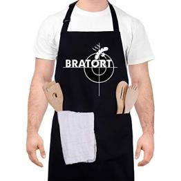 adakel Grillschürze Schwarz, Arbeitsschürze & Kochschürze Lustiges Geschenk für Männer und Hobbyköche zum Vatertag Weihnachten Geburtstag oder Grillparty - Bratort - 1