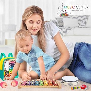 AILUKI 27 Stück Musikinstrumente Musical Instruments Set, Holz Percussion Set Schlagzeug Schlagwerk Rhythm Toys Musik Kinderspielzeug für Kleinkinder - 3