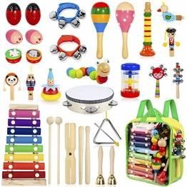 AILUKI 27 Stück Musikinstrumente Musical Instruments Set, Holz Percussion Set Schlagzeug Schlagwerk Rhythm Toys Musik Kinderspielzeug für Kleinkinder - 1
