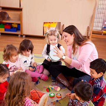AILUKI 27 Stück Musikinstrumente Musical Instruments Set, Holz Percussion Set Schlagzeug Schlagwerk Rhythm Toys Musik Kinderspielzeug für Kleinkinder - 5