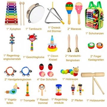 AILUKI 27 Stück Musikinstrumente Musical Instruments Set, Holz Percussion Set Schlagzeug Schlagwerk Rhythm Toys Musik Kinderspielzeug für Kleinkinder - 6